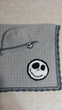 Light gray & dark gray Jack Skellington crochet baby blanket and hat. Jack Skellington crochet appliques.