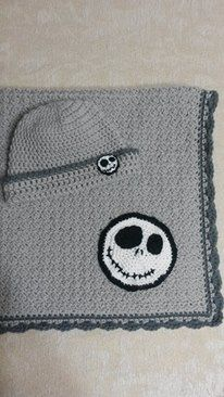 Light gray & dark gray Jack Skellington crochet baby blanket and hat. Jack Skellington crochet appliques.