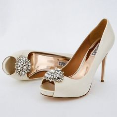 "Badgley Mischka Jeannie available in both ivory and white silk satin. Classic wedding shoes with peep toe and glamorous crystal ornament. 4"" heel with 3/4"" platform. http://perfectdetails.com/Jeannie.htm"