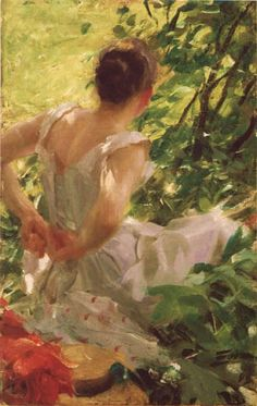 Anders Zorn (Swedish, Impressionism, 1860–1920): Woman Getting Dressed (Kvinna som klär sig), 1893. Oil on canvas, 56 × 38 cm (22 × 15 inches). Private Collection.