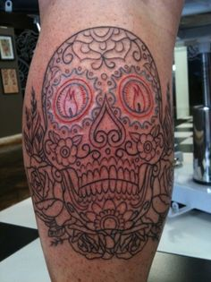 Love this sugar skull design. Although I would definitely fill it in, if it were mine.