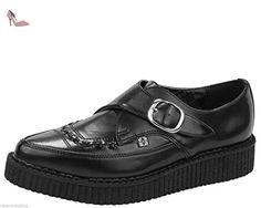 T.U. K.-A8520 TUK Chaussures richelieu en cuir Bout pointu boucle Brothel Creepers Unisexe - Noir - noir, - Chaussures tuk (*Partner-Link)