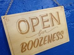 """7.5""""x5"""" wooden sign with laser engraved type. Sign is perfect for any bar, restaurant, kitchen or home bar area. Great for parties too! Hand drawn typography laser engraved onto 3/8"""" plywood. Two small holes drilled for jump rings and chain for easy hanging on nails or doorknobs. $20.00 USD"""