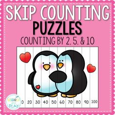Have fun this Valentine's Day in your classroom with these skip counting by twos, fives, and tens puzzles for your kindergarten students! Completely independent way to practice counting by 2s, 5s, and 10s. #skipcounting #valentinesdaymath