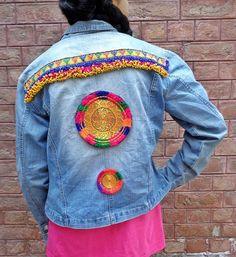 Vintage Kuchi Afghan Medallion Ethnic Hippie DENIM Medallions Jacket OLIN Jeans