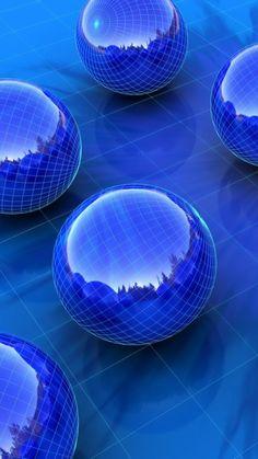 balls, blue, shape, surface, gloss, glass