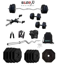 In the box: 20kg HEXA Weight Set (3KG x 4 + 2KG x 4 = 20KG), 3Ft Curl Rod, 1 Pair Dumbbell Rods, 1 Leahter Gym Gloves, 1 Skipping Rope, 1 Gripper, 1 Dorri bag  This set of adjustable pvc dumbbells is an excellent choice for a home gym  Whether you are at home or in the gym, our chrome plated rods are ideal for exercising strength and keeping fit  This set with accessories are best for all regular gym lovers  Through daily exercise, your figure changes are obvious  It is comfortable, safe and… Home Gym Exercises, Gym Workouts, Rubber Dumbbells, Curling Rods, Gym Gloves, Gym Weights, Skipping Rope, Weight Set, Bone Density