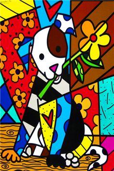 Envío Gratis RB Fondos de Pantalla Pintura de Dibujos Animados de Perro con Carteles De Lona de Encargo de La Flor de Romero Britto Pegatinas Decoración # PN #913 #(China (Mainland))