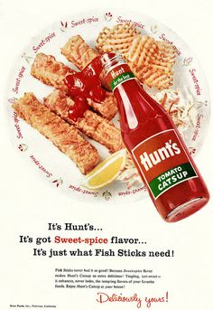 Hunt's Tomato Catsup ad, 1956. #graphicdesign #vintage #ads