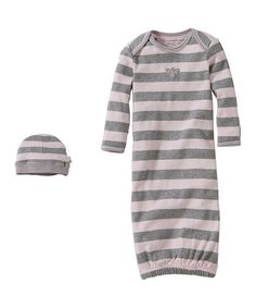 Burts Bees Baby Blossom Stripe Gown & Beanie - Infant | zulily