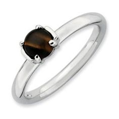 Tiger's Eye Stackable Ring 925 Sterling Silver Band Gemologica.com offers a large selection of stackable rings available in Sterling Silver, 10K, 14K and 18K yellow, rose and white gold. Our stack rings are available with all birthstones, gemstones and diamonds. Our selection includes stackable mothers rings and stackable wedding and engagement rings. Women's stacking jewelry can be found on our website here: www.gemologica.com/stackable-rings-c-27_243.html