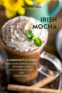 Get into the St. Patrick's Day spirit with this minty Nespresso coffee drink. | INGREDIENTS: 1 Scuro Double Espresso capsule; 1 TBSP peppermint syrup; 2 TBSP white chocolate sauce; 6 oz hot frothed milk; whipped cream & chocolate shavings. | MATERIALS: Aeroccino milk frother; tall mug or recipe glass. | HOW TO: Add peppermint syrup & white chocolate sauce to your mug. Pour in frothed milk, then brew espresso on top. Stir to mix. Garnish with whipped cream & chocolate shavings. Enjoy! Nespresso Recipes, Nespresso Usa, White Chocolate Sauce, Mood Stabilizer, Double Espresso, Chocolate Shavings, Coffee Pods, Coffee Recipes