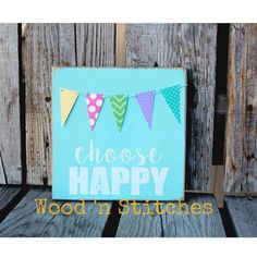 Choose happy wood sign pendant banner hand painted home decor gift personalized bakers twine