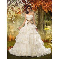 una línea de novia de la princesa del cordón y el vestido de boda del organza (467004) - USD $ 247.99