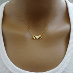 Initial Necklace / Diamond Initial Necklace in Gold / Gold Letter Necklace / Single Initial Diamond Necklace / Personalized Gift - Fine Jewelry Ideas Tiny Necklace, Letter Necklace, Monogram Necklace, Simple Necklace, Gold Necklace, Gold Bracelets, Initial Necklace Silver, Initial Necklaces, Couple Necklaces