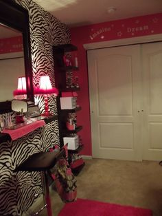 zebra and hot pink - 11 year old girl love the vanity on the wall idea Check out the website to see Dream Rooms, Dream Bedroom, Girls Bedroom, Bedroom Decor, Bedroom Ideas, Bedroom Designs, My New Room, My Room, Pink Room