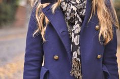 scarf and navy peatcoat