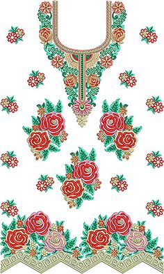 Embroidery Designs Free Download, Border Embroidery Designs, Embroidery Flowers Pattern, Simple Embroidery, Chudi Neck Designs, Neckline Designs, Textile Prints, Textile Patterns, Fabric Decor
