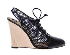 Black Snakeskin Leather Wedges Shoes