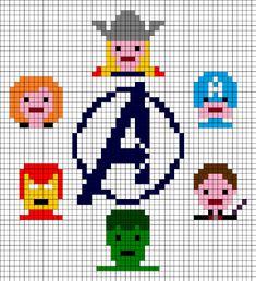 The Avengers cross stitch Loom Beading, Beading Patterns, Knitting Patterns, Cross Stitching, Cross Stitch Embroidery, Cross Stitch Patterns, Iron Man, Stitch Cartoon, Nerd Crafts