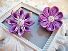 Kanzashi Flower Hair clip set of Two by krantwist on Etsy, $10.99