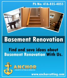 Contact AnchorCutting - well known name in basement renovation services in Brampton, Mississauga, Milton and Oakville. Basement Renovations, Concrete, Meet, Space, Party, Floor Space, Receptions, Parties, Cement