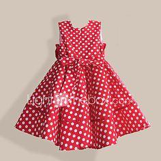 Vestido Chica de-Casual/Diario-Lunares-Algodón-Verano / Primavera-Rojo 2017 - $392.52