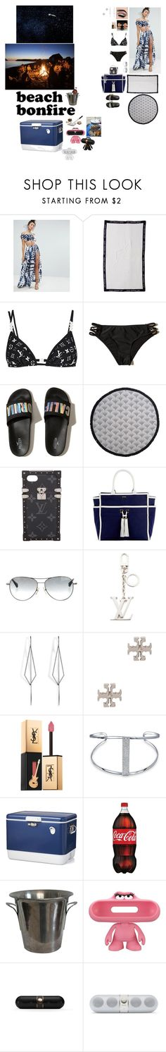 """The perfect day to get away and with my friends I'll always stay🌌."" by gorgeouslee ❤ liked on Polyvore featuring ASOS, Louis Vuitton, Hollister Co., The Beach People, Melissa Odabash, Diane Kordas, Tory Burch, Yves Saint Laurent, Bling Jewelry and Crate and Barrel"