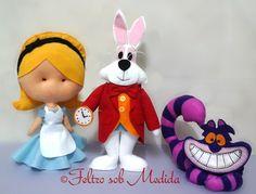 Alice no país das Maravilhas + Gato de Cheshire + Coelho branco. Kit para decoração.