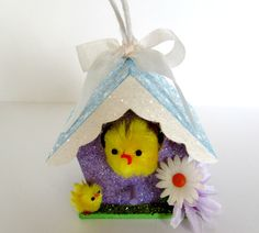 Easter Putz Style House with Fuzzy Chicks by ItsMeConnieJean