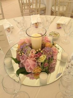 wedding table Corlea, something like this, round mirror replace with square piece.A big candle in middle and small candles surrounding. I like this arrangement. Wedding Table Centres, Wedding Table Centerpieces, Wedding Decorations, Table Wedding, Wedding Mirror, Wedding Stage, Cheap Table Decorations, Wedding Mandap, Stage Decorations