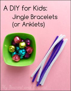 DIY jingle bracelets or anklets. Kids love dancing around with these on their wrists and anklets. My Nearest and Dearest blog.