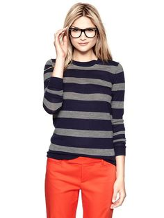 Geek Chic Gap Striped Merino Crew Pullover