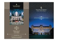 hotel layout Four Seasons Hotel Brochure by angel b lee, via Behance Hotel Brochure, Hotel Ads, Brochure Cover, Brochure Design, Brochure Ideas, Living Room Small, Overlays, Riverside Hotel, Real Estate Branding