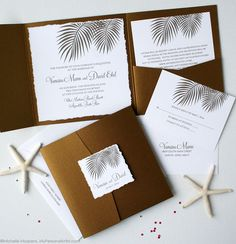 Palm Leaf Beach Wedding Pocketfolder Invitations by My Personal Artist  *Love this. Elegant, but I would make it a little more beachy and colorful.