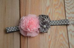 SALE Pink and Grey Baby Girl Headband by LilCutieBugBoutique
