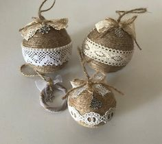 Excited to share this item from my shop: Set of 4 twine ornaments for rustic Christmas ornaments Farmhouse Xmas decor Country home Christmas decoration Housewarming gift Burlap Ornaments, Rustic Christmas Ornaments, Cute Christmas Tree, Handmade Christmas Decorations, Farmhouse Christmas Decor, Xmas Decorations, Christmas Wreaths, Christmas Crafts, Christmas Ideas