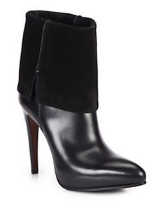 Costume National - Leather & Suede Fold-Over Ankle Boots