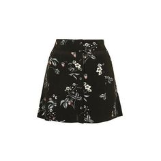 TopShop Strawberry Floral Button Skirt ($40) ❤ liked on Polyvore featuring skirts, mini skirts, black, floral mini skirt, short skirts, short floral skirt, floral print skirt and mini skirt