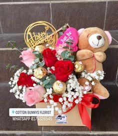 Order or enquiry's please Whatsapp us No : We provide delivery for Penang Kedah Kl Selangor (Selected Area) Flower Box Gift, Flower Boxes, Diy Flowers, Ferrero Rocher Bouquet, Graduation Bouquet, Valentine Day Gifts, Valentines, Valentine's Day Gift Baskets, Surprise Box