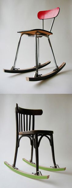 Rocker attachment to turn almost any four-legged chair into a rocking chair. By Oooms.