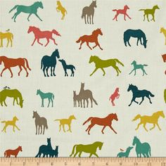 Jay-Cyn Designs for Birch Organic Fabrics, Farm Fresh, DOUBLE GAUZE, The Champion Multi, Fabricworm brings you the best in modern fabric! Horse Fabric, Horse Quilt, Baby Canopy, Canopy Cover, Organic Modern, Modern Fabric, Wild Horses, Bunt, Birch