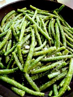 Caesar green beans sauteeing - fast, easy, delicious side dish at ittlemisscelebration.com