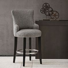 Taylor Counter Height Stool Grey w/Chrome Nailhead Accents | Unique Stools | Abode & Company