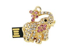 JMC091 4GB Elephant Shaped USB Flash Drive with Jewelry Surface (Gold)$17.99