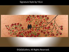 Valentine's Day Abstract Landscape Painting by QiQiGallery on Etsy, $185.00