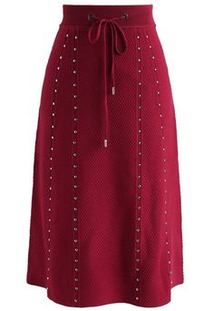 >>>Cheap Sale OFF! >>>Visit>> Gallant Embossed Knitted A-lined Skirt in Red - New Arrivals - Retro Indie and Unique Fashion Unique Fashion, Modest Fashion, Vintage Fashion, Fashion Outfits, Fashion Fashion, Leather A Line Skirt, Retro Mode, Elegant Outfit, Vintage Skirt