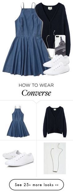"""""""Allison Inspired Blue Outfit with White Converse"""" by veterization on Polyvore featuring La Garçonne Moderne, Abercrombie & Fitch, Audiology and Converse"""