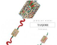 Jewelry Rakhi Trends: From the traditional classic thread styles, the Rakhis are evolving towards more of classic & uber Jewelry Rakhis. Rakhi Design, Tanjore Painting, Sister Sister, Raksha Bandhan, Indian Festivals, Purple Velvet, Diy Design, Handmade Jewelry, Fancy