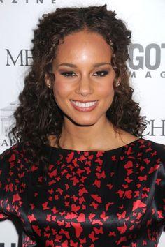 Alicia Keys half up half down curly hairstyle